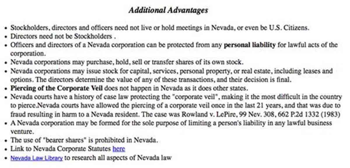 Additional benefits of Nevada incorporation