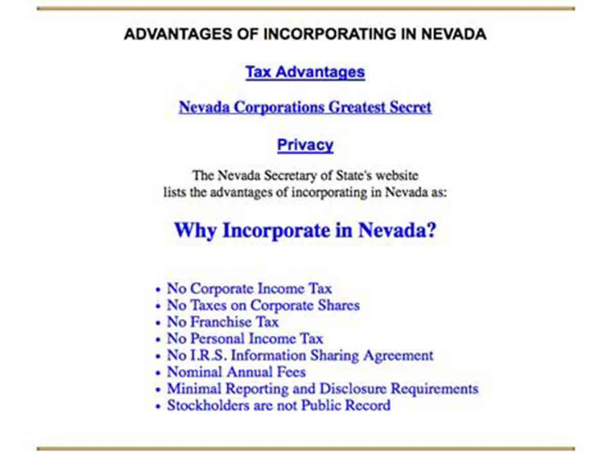 Benefits of incorporating in Nevada, USA