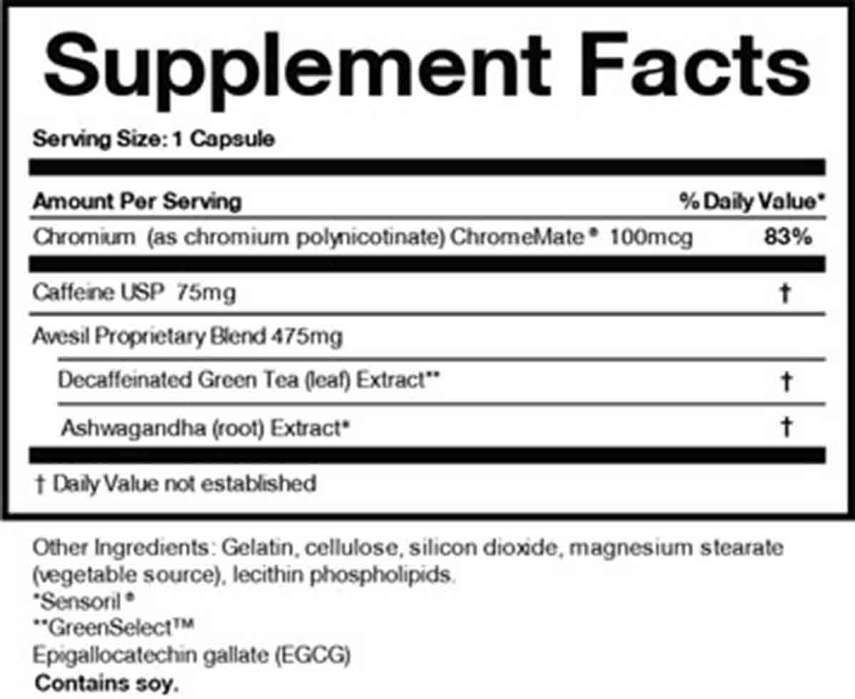 Avesil supplement facts