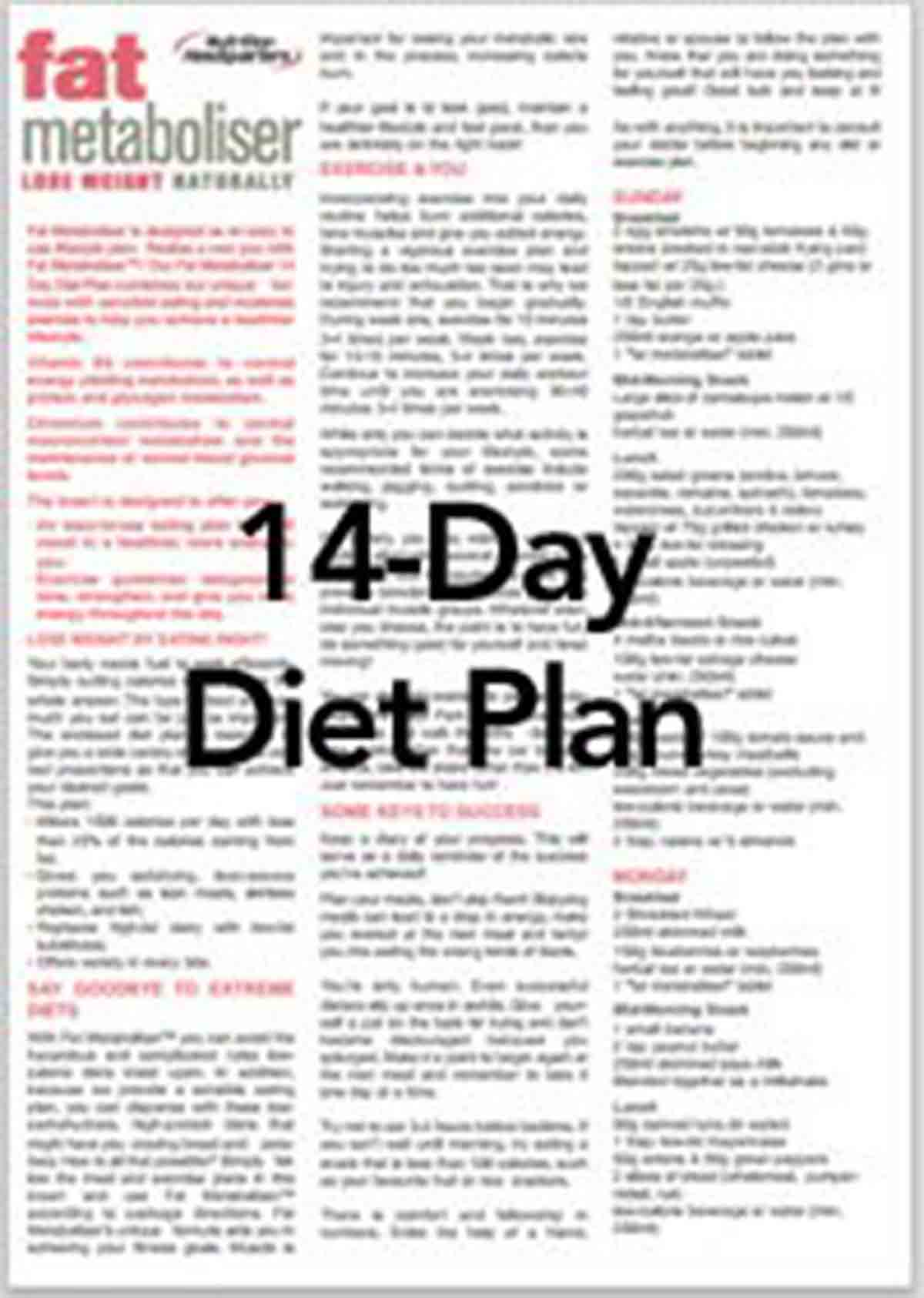 Fat Metaboliser 14-day Diet Plan