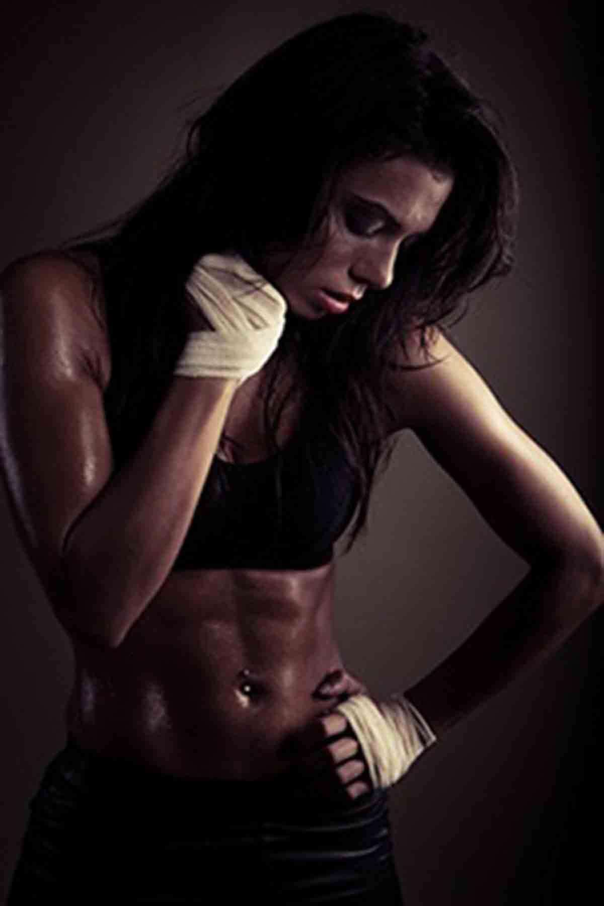 exhausted brunette after workout