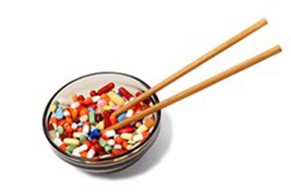 Bowl with drugs and chopsticks