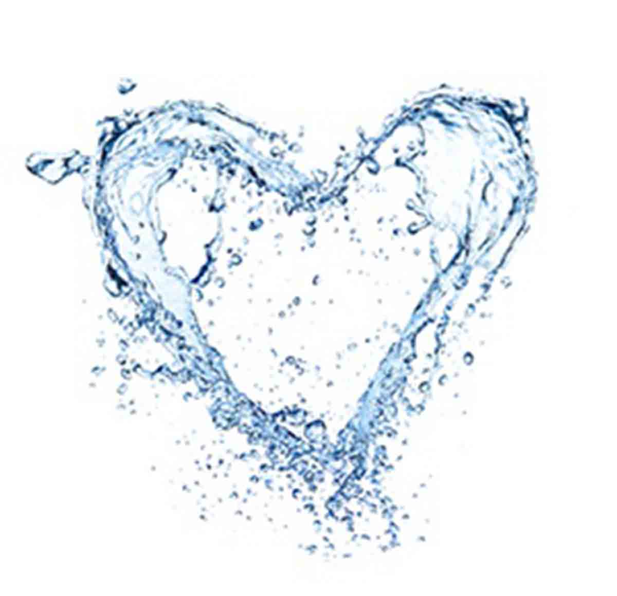 Heart symbol made of water splashes, isolated on white backgRound