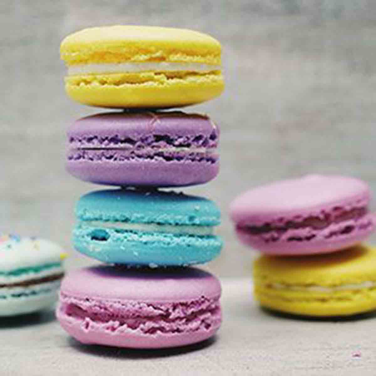 colourful macarons treats