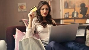 Young woman buying online